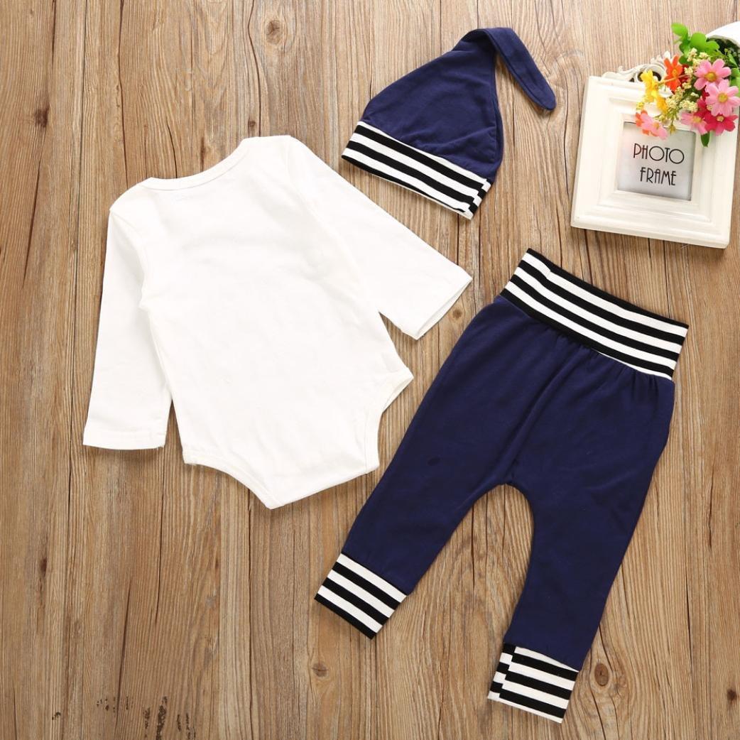 Hat Outfits Clothes SHOBDW Boys Clothing Sets Long Pants 3PCS//Set Newborn Kids Baby Girl Boy Letter Romper Tops