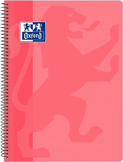 Oxford Classic - Cuaderno espiral, tapa plástico, cuadrícula 4x4, color rosa chicle: Amazon.es: Oficina y papelería