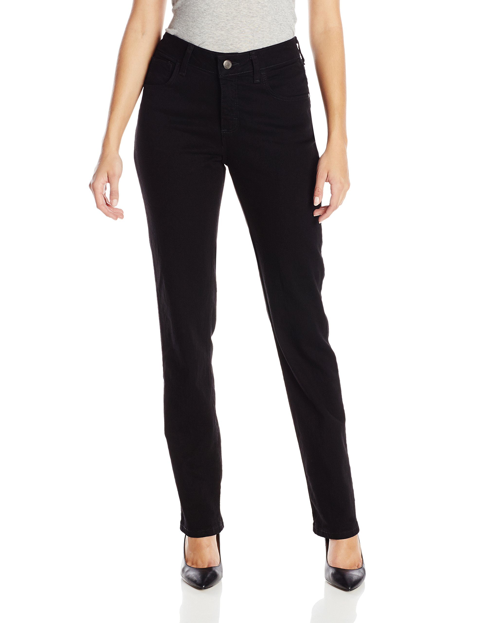 LEE Women's Instantly Slims Classic Relaxed Fit Monroe Straight Leg Jean, Black, 14