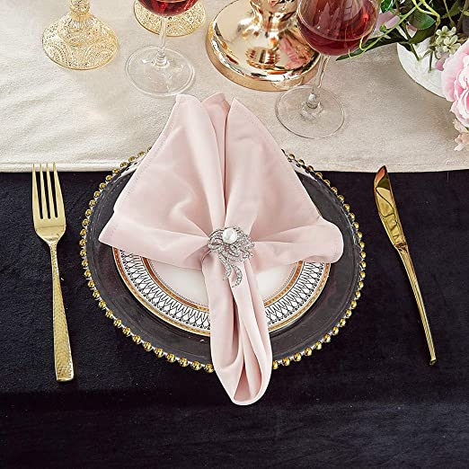 "20/"" x 20/"" Damask Jacquard Polyester Table Napkins 10 PCS Wedding Linens Inc."