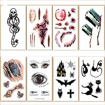 Amazon.com: 8 Sheet Halloween Childrens Temporary Tattoos: Health ...