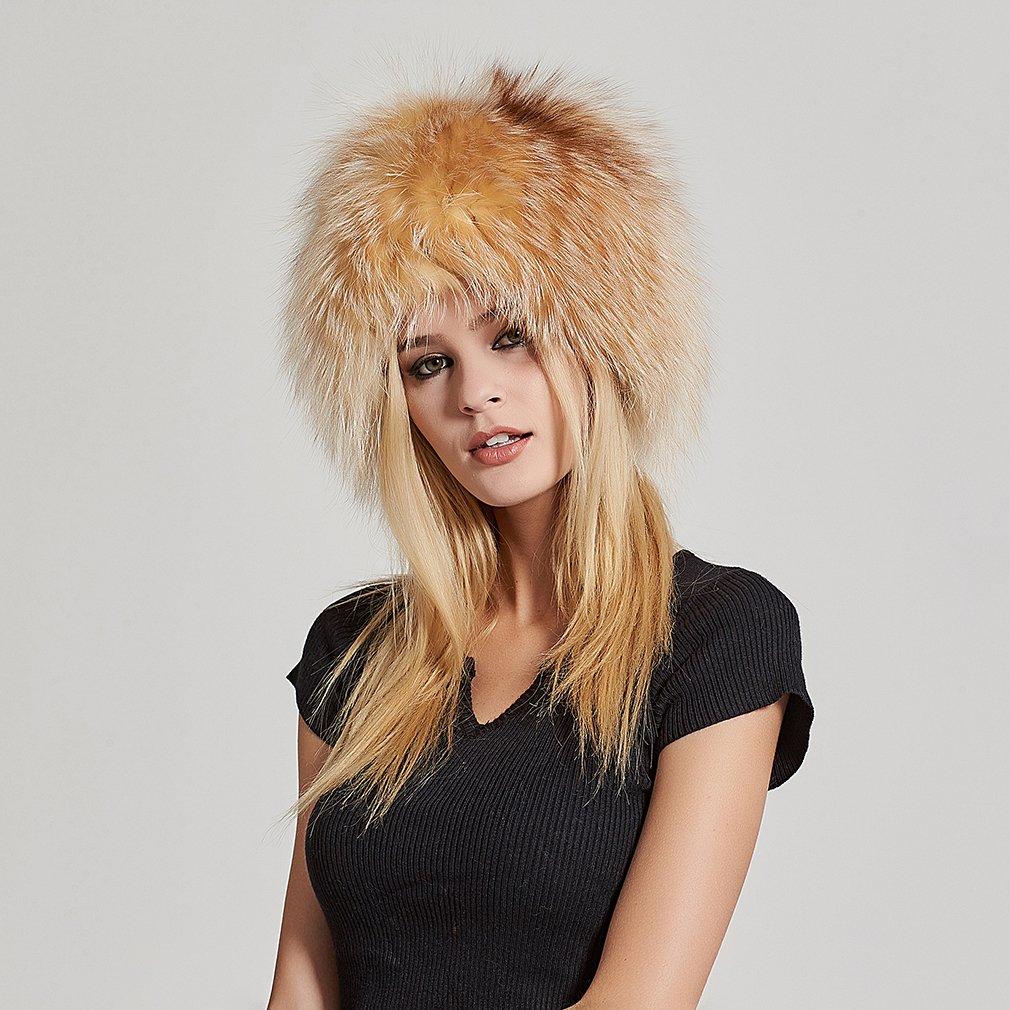 Fur Story Women's Real Fox Fur Skullies Beanie Hat Elastic Warm Winter Hats Gold Fox by Fur Story (Image #4)