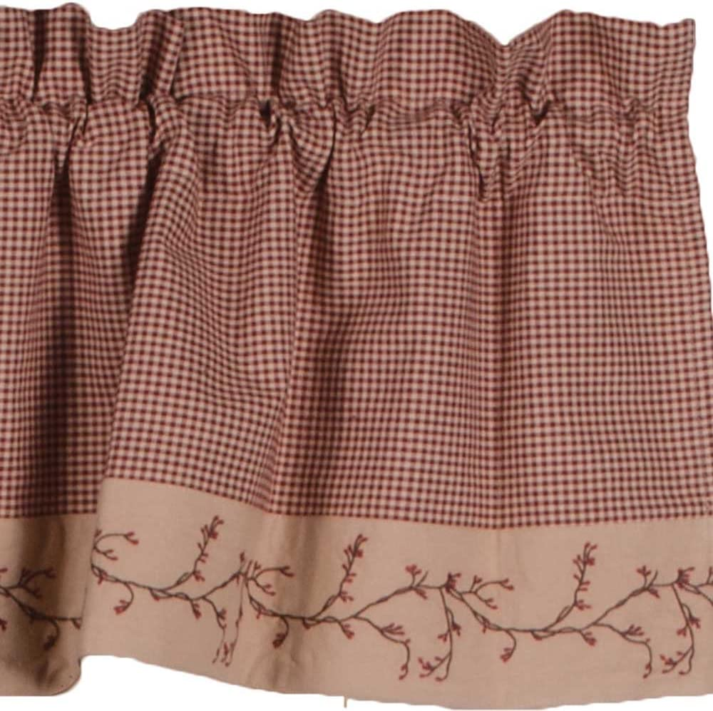 Primitive Home Decors Berry Vine Gingham Valance - Barn Red