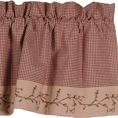 Primitive Home Decors Berry Vine Gingham Valance – Barn Red