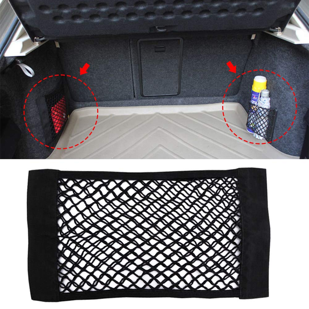 Verdelife Mesh Bag for Car Storage Mesh Bag for Storage in the Boot of the Car Back Elastic Pocket Organizer Magic Tape Glued 19.7 x 9.8 inches
