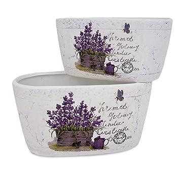 2x Deko Blumentopf Jardiniere Lavendel aus Keramik weiß lila, 2 ...