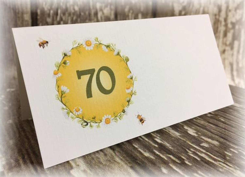 Tischkarte Namenskarte Blumen Bienen runder Geburtstag 40 50 60 70 80 90 Tischdeko personalisierbar grün gelb …