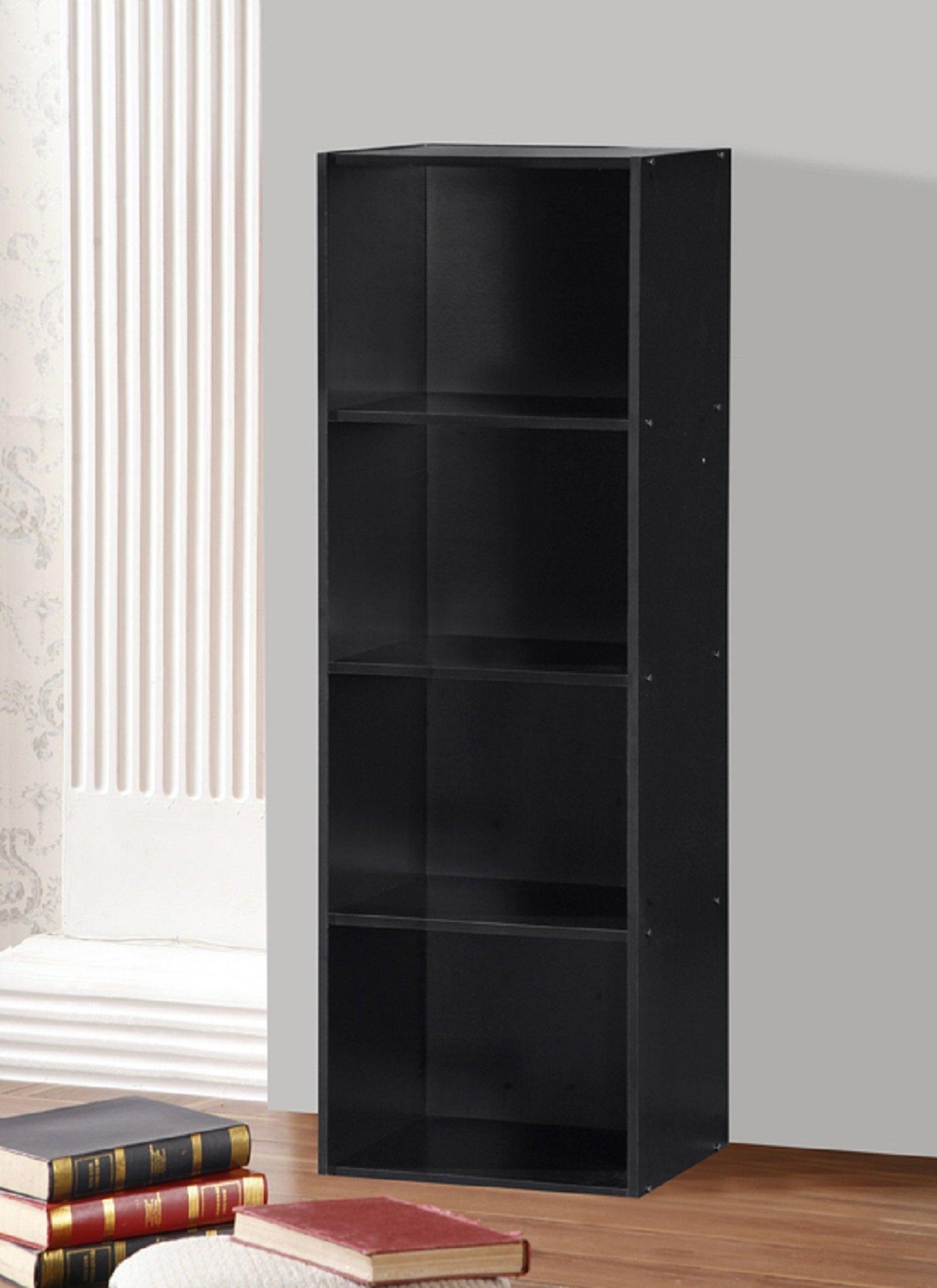 Hodedah 4 Shelve Bookcase, Black by HODEDAH IMPORT (Image #2)