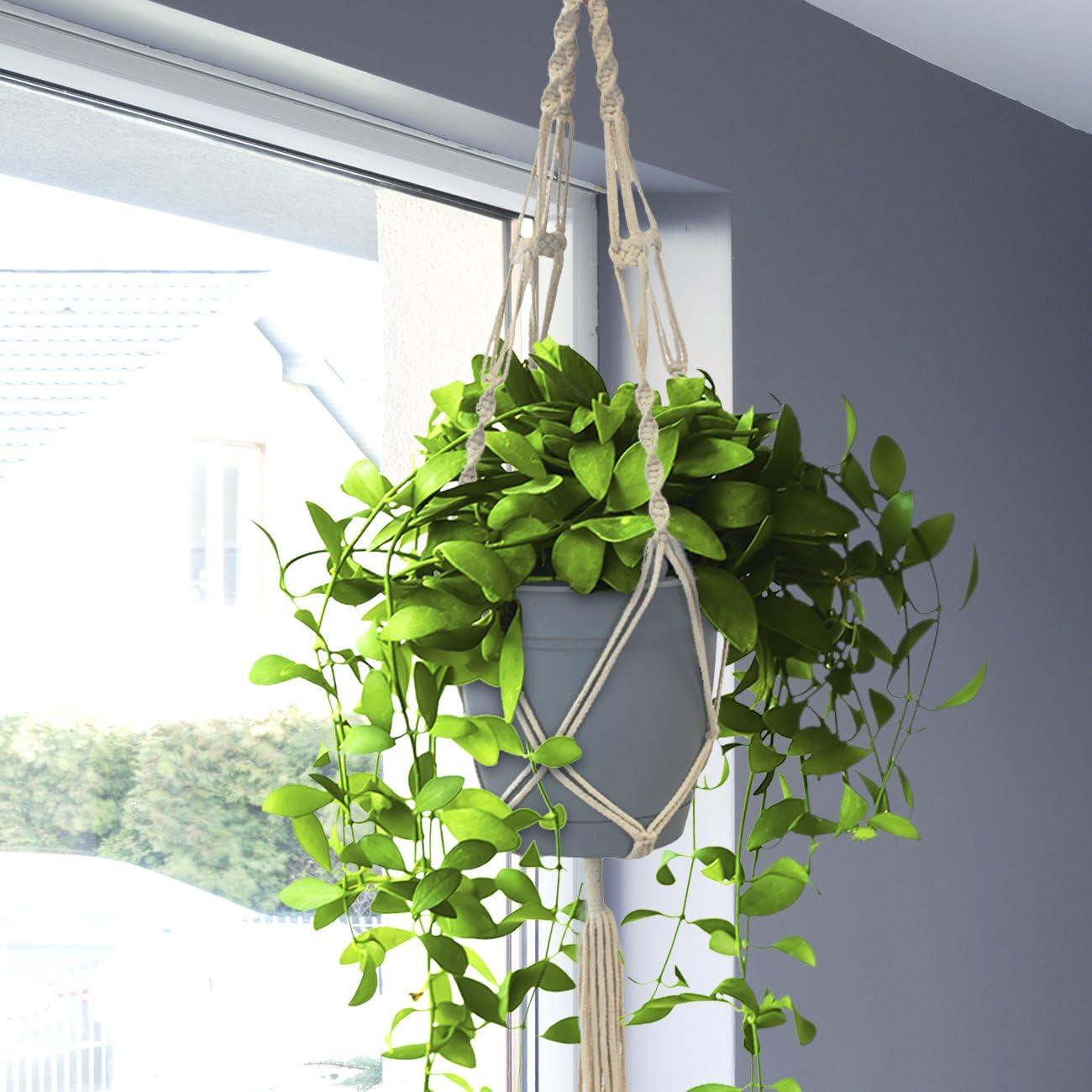 Sorbus Macrame Plant Hanger 4 Pack Indoor Outdoor Hanging Plant Pots Cotton Rope, Elegant for Home, Patio, Garden