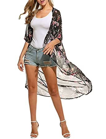 5d81791064 Sunm boutique Beach Cover up Women's 3/4 Sleeve Floral High Low Chiffon  Kimono Cover