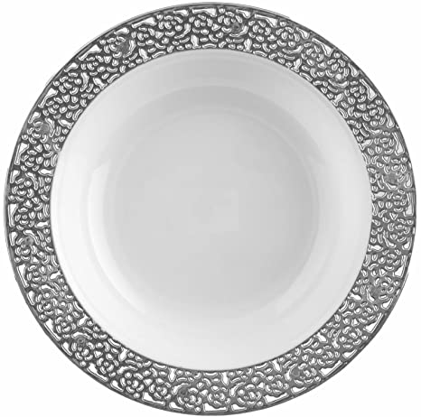 Decor Elegant Disposable Premium Soup Plates Inspiration Silver u0026 Clear 40 Count  sc 1 st  Amazon.com & Amazon.com: Decor Elegant Disposable Premium Soup Plates ...