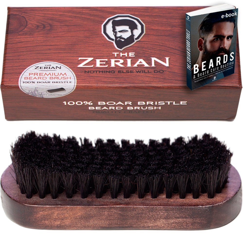 Beard Brush for Men -100% Firm Boar Bristle - Best Grooming Comb for Beards & Mustache works great with balm, oil or wax in Premium Giftbox Set & BONUS a Digital BEARD CARE ROUTINE BOOKLET
