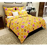 Home Candy 144 TC Bright Polka Cotton Double Bed Sheet with 2 Pillow Covers