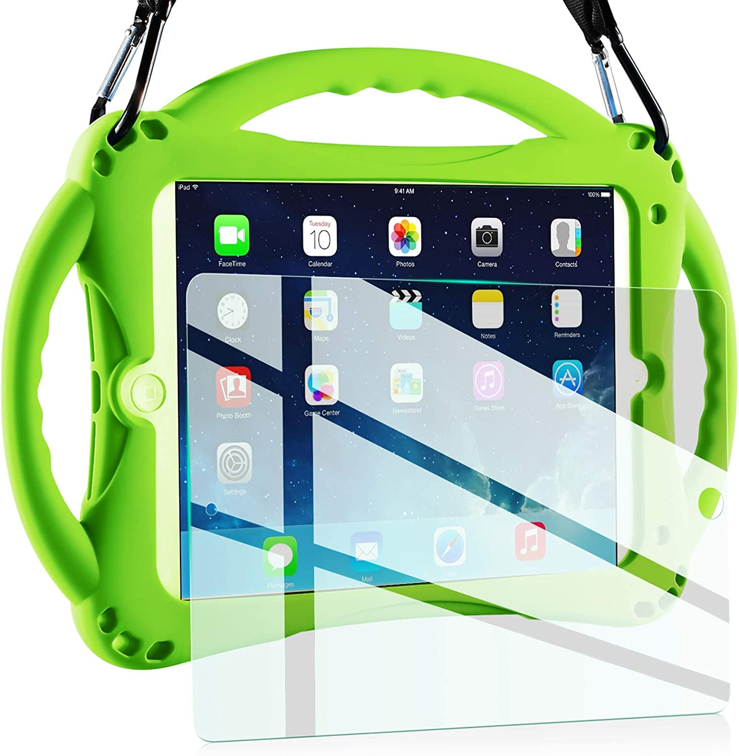 TopEsct Kids Case for New iPad 2017/2018 9.7 inch Case, Shockproof Silicone Handle Stand Case Cover&(Tempered Glass Screen Protector) For Apple iPad 6th/5th Generation and iPad Air(Green)