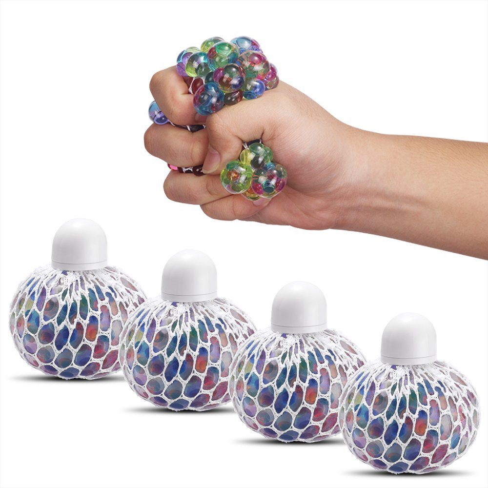 Augenblick Mesh Squishy Ball Anti Stress Balls Rubber Multi Color Vent Grape Stress Ball Squeezing Stress Relief Ball- For Kids & Adults.Stress Squishy Toys For Autism, ADHD, Bad Habits & More(4PCS)