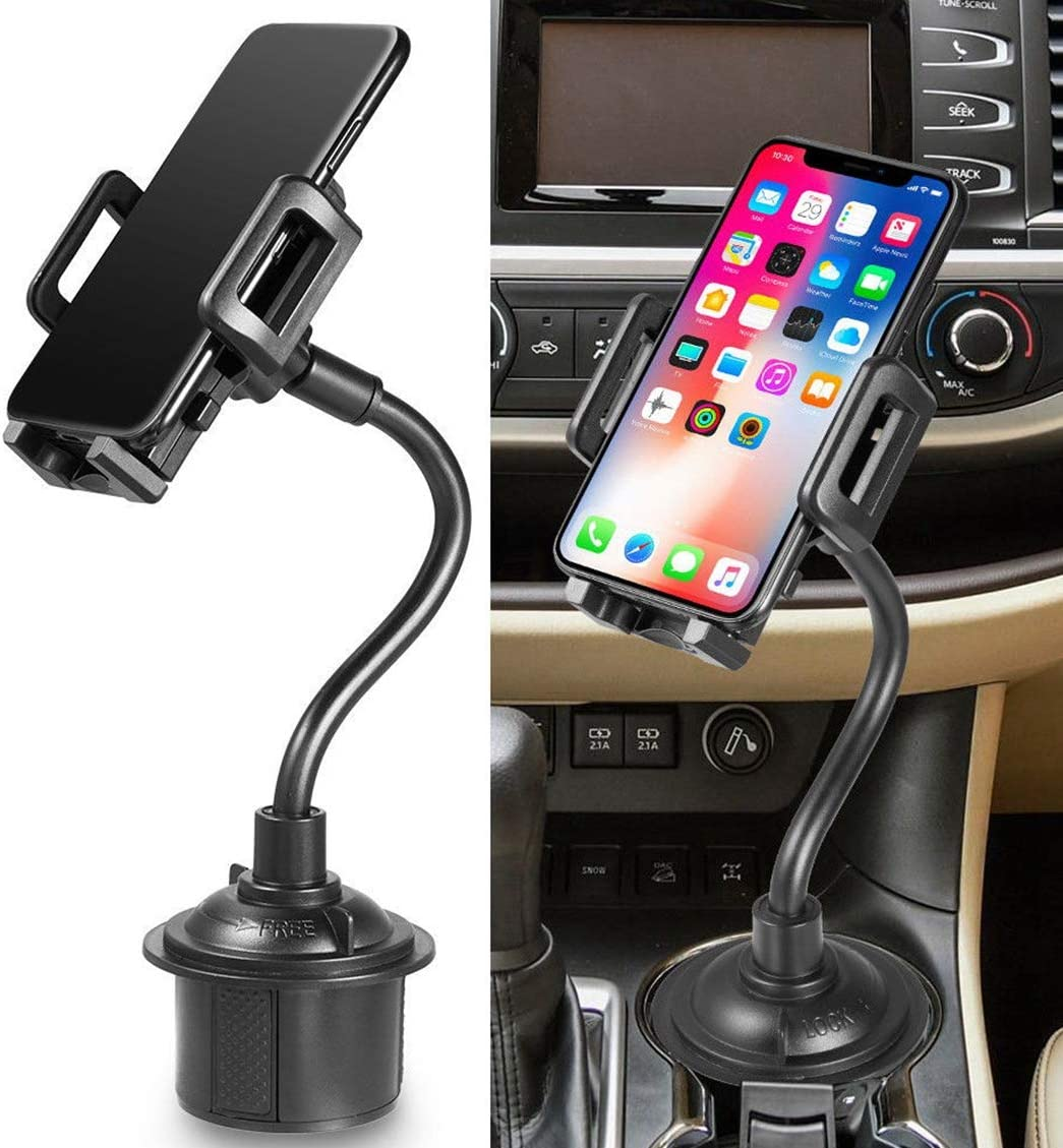 Cell Phone Holder for Car,DyKay Cup Holder Phone Mount Universal Adjustable Gooseneck Cup Holder Cradle Car Mount for Cell Phone iPhone Xs/SX Max/X/8/7 Plus/Galaxy