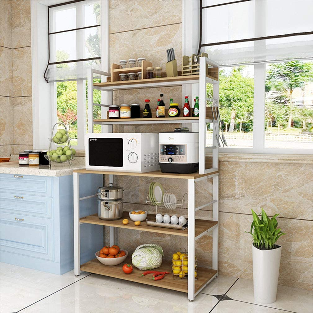 XLBHSH Rack with High Display Shelf Storage Shelf 5th Floor Kitchen Rack with Hooks Kitchen Microwave Oven Stand Rustic Brown,Beige