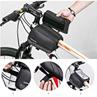 MILKIRAY Cycling Frame Bag Head Tube Bag Front Top Tube Frame Pannier Double Bag Pouch Holder Crossbar Bag for Smartphone
