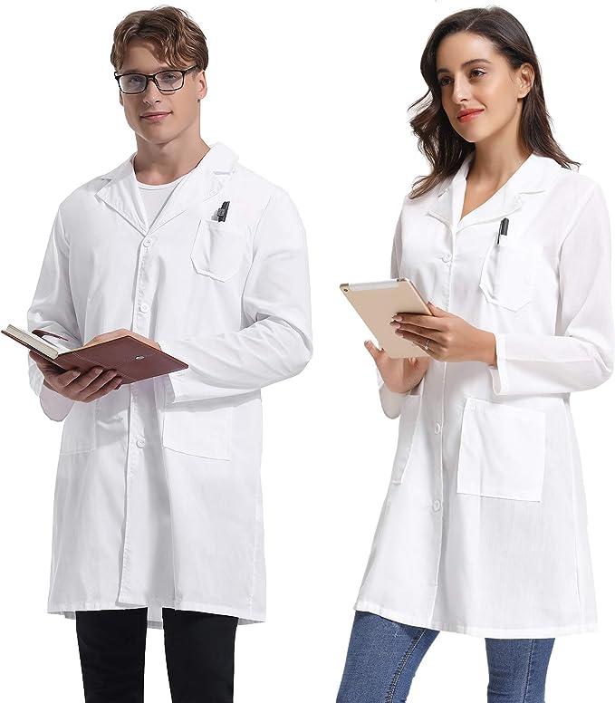 Hawiton Bata de Laboratorio para Hombre y Mujer Bata de Laboratorio para Mujer Doctores Bata Blanca Bata de Laboratorio Uniforme Escolar Abrigo de Estudiantes: Amazon.es: Ropa y accesorios