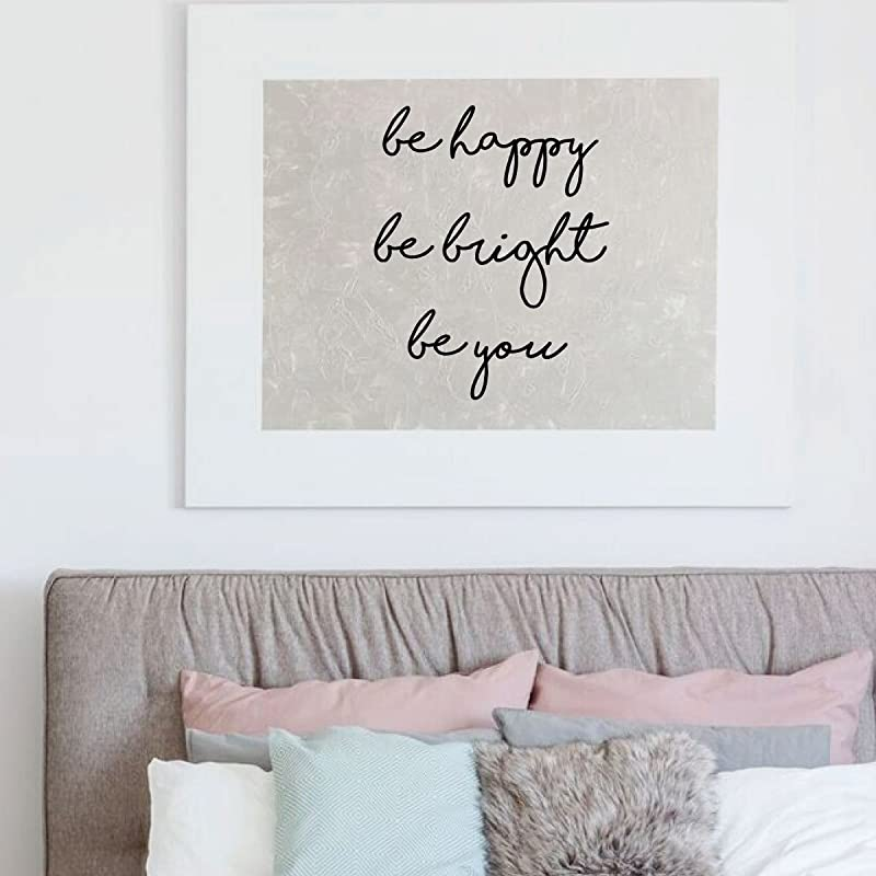 Dorm or Homeschool Decor Be Happy Be Bright Be You Vinyl Sticker Inspirational Decoration for Home Decor Happiness Wall Decal Bedroom
