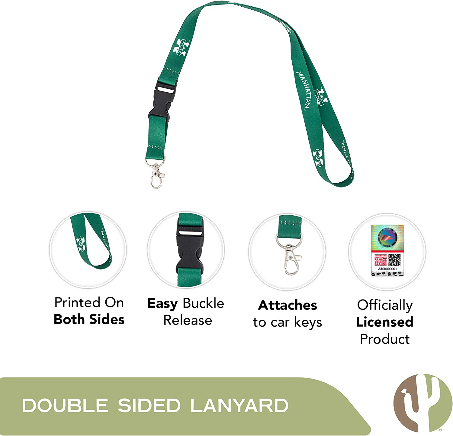 Manhattan College Jaspers NCAA Car Keys College ID Badge Holder Lanyard Keychain Detachable Breakaway Snap Buckle w//Pouch