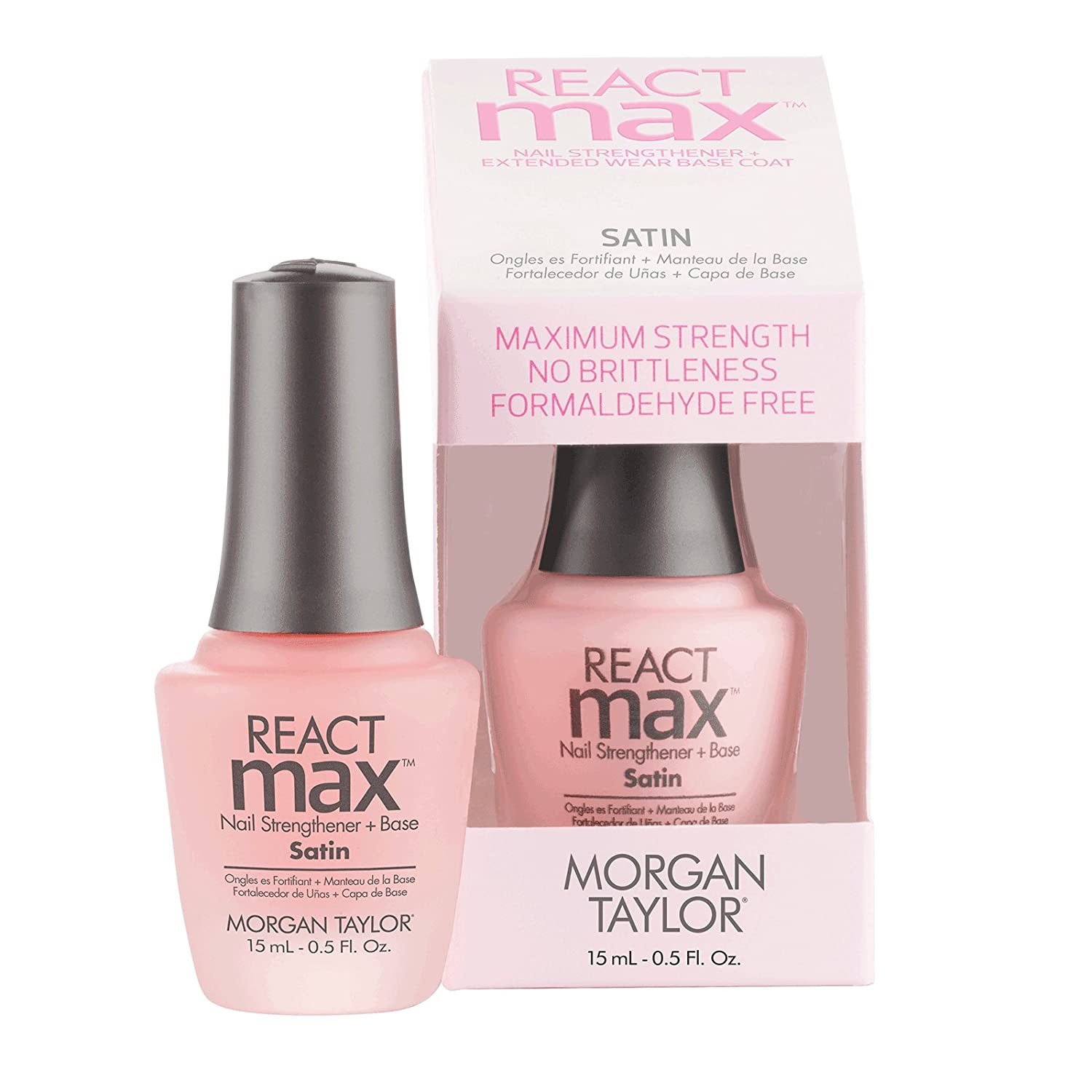 Morgan Taylor reactmax satin nail strengthener + extended wear base coat, 15ml