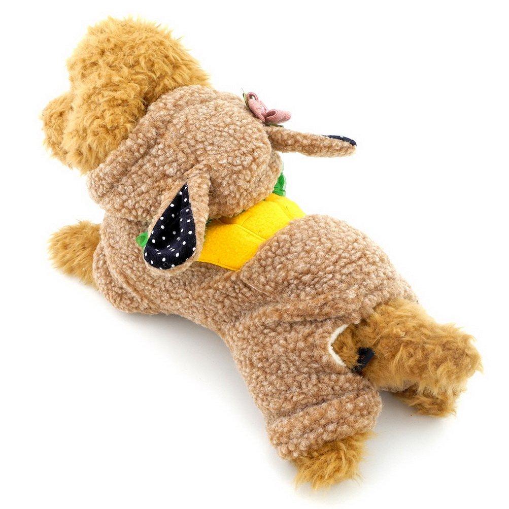 ZUNEA Zanahoria Body Traje Pequeño para Perros Gato pijama con capucha invierno cálido Pet disfraz conejo (este modelo es pequeño, elige una talla más ...