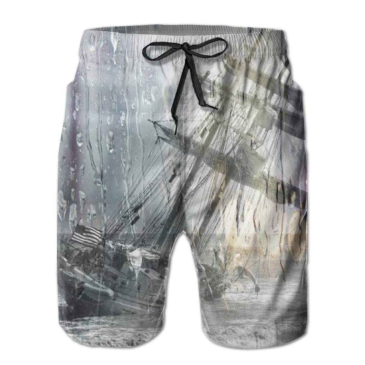FASUWAVE Mens Swim Trunks Torrential Sailboat Quick Dry Beach Board Shorts with Mesh Lining