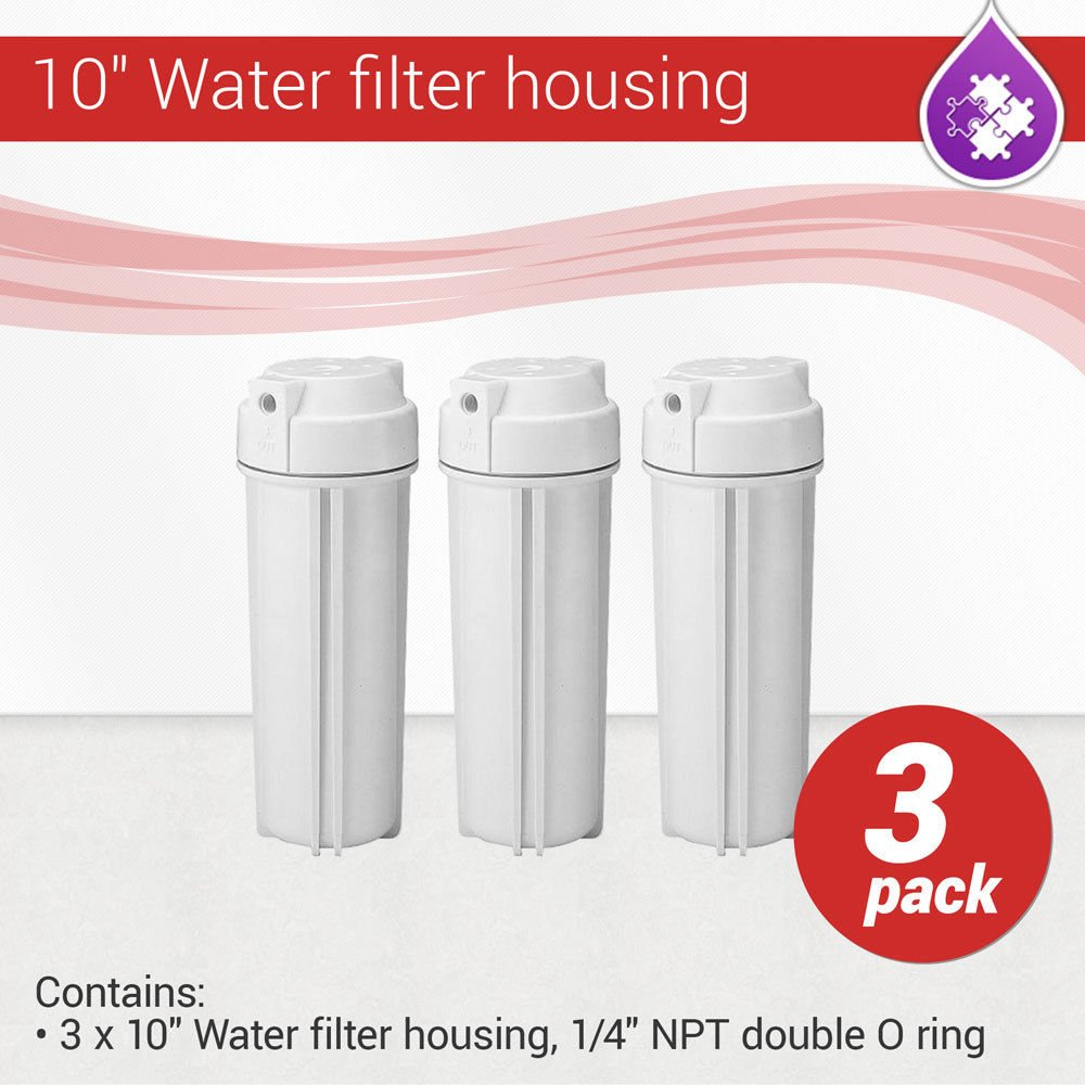 10'' Water filter housing, 1/4'' NPT with double O ring Qty 3