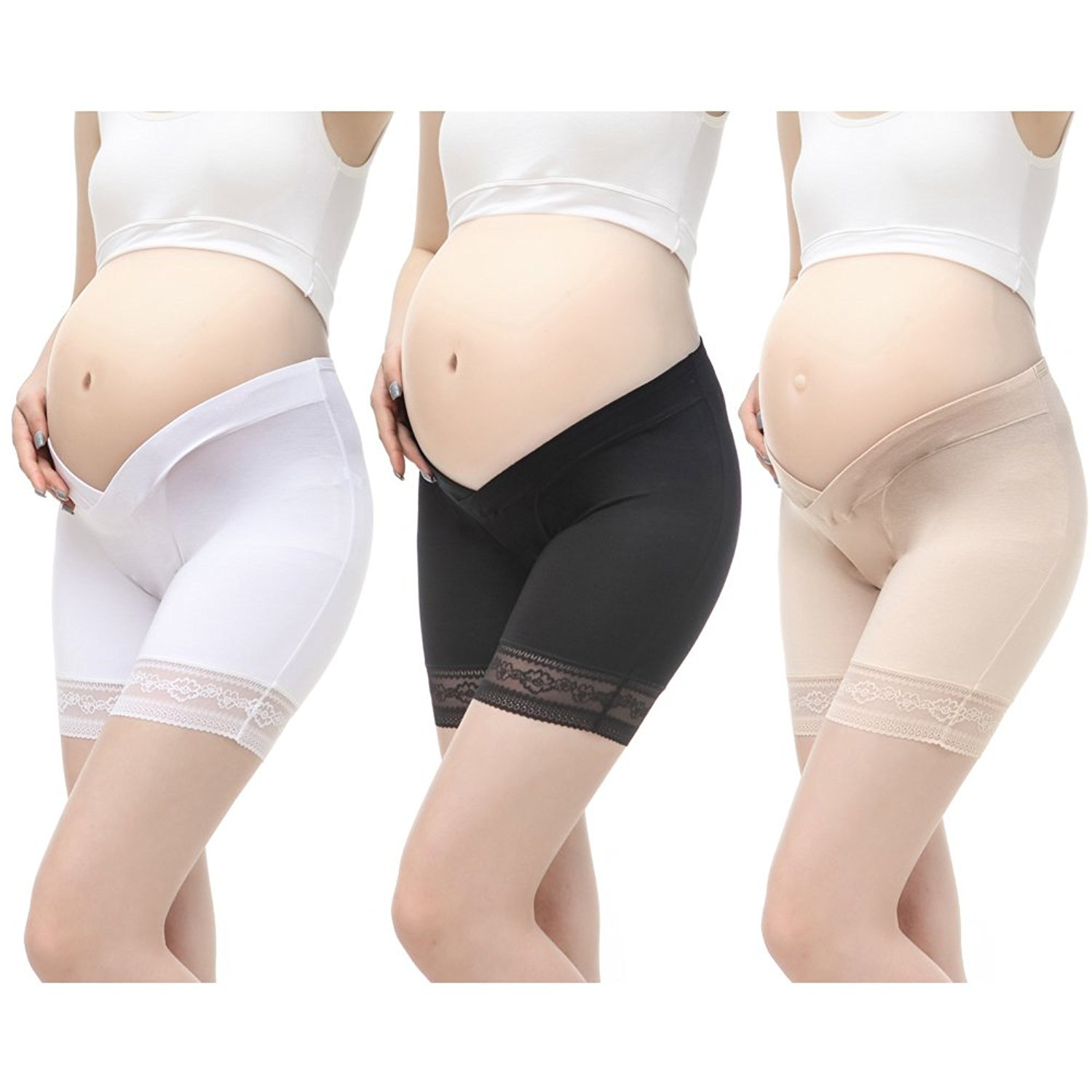VIGOO 3PCS Cotton Maternity Pregnant Mother Panties Lingerie Briefs Underpants Underwear (Label XXL/US XL, 3 Pack(Black/Beige/White))
