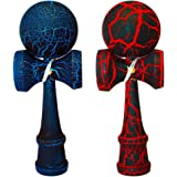 2 PACK - The Best Kendama For All Kinds Of Fun (full size) - 2-Pack - Awesome Colors: Red/Black Crackle and Blue/Black Crackle -Solid Wood - A Tool To Create Better Hand And Eye Coordination - KENDAMA TOY CO.