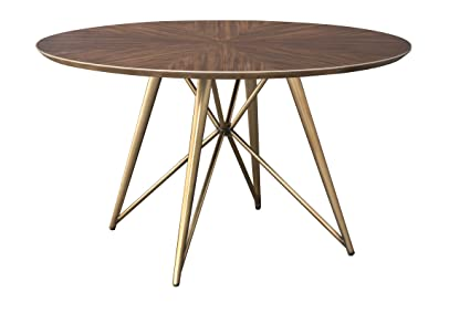 Amazoncom Konrad 60 Inch Round Wood And Brass Round Dining Table