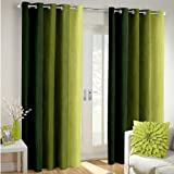 Super India Long Crush Solid 2 Piece Polyester Long Door Curtain Set - 9ft, Green
