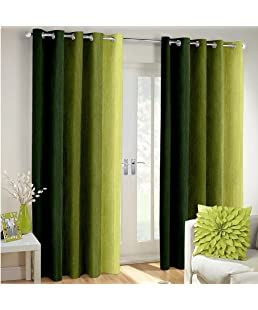 Cozyland Long Crush Solid 2 Piece Polyester Window Curtain Set - 5ft, Green