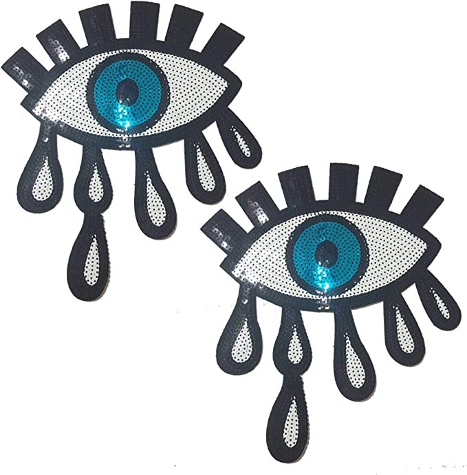 6 Pcs DIY Blue Eye Embroidered Iron //Sew On Patches for Clothing Applique Badge Apparel Garment Accessories