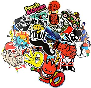 Paiholy 50pcs Random Music Film Laptop Stickers for Teens Adults Cool Vinyl Sticker Pack Bomb Variety Decal for Water Bottles Skateboard Car Luggage Graffiti Travel Case Cute Anime Stickers Waterproof