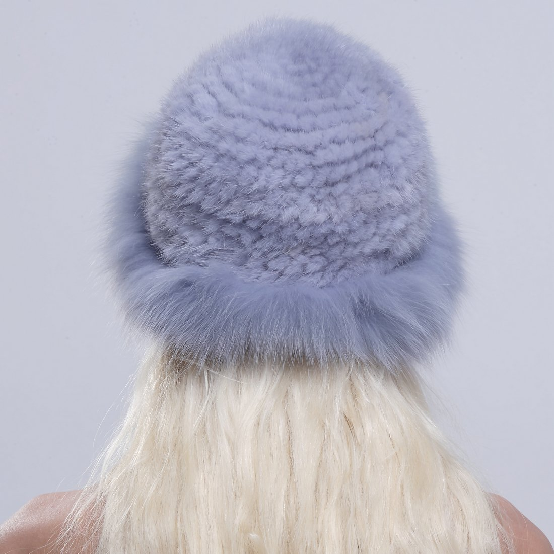URSFUR Genuine Fox Fur Roller Hat with Knit Mink Top Sapphire by URSFUR (Image #5)