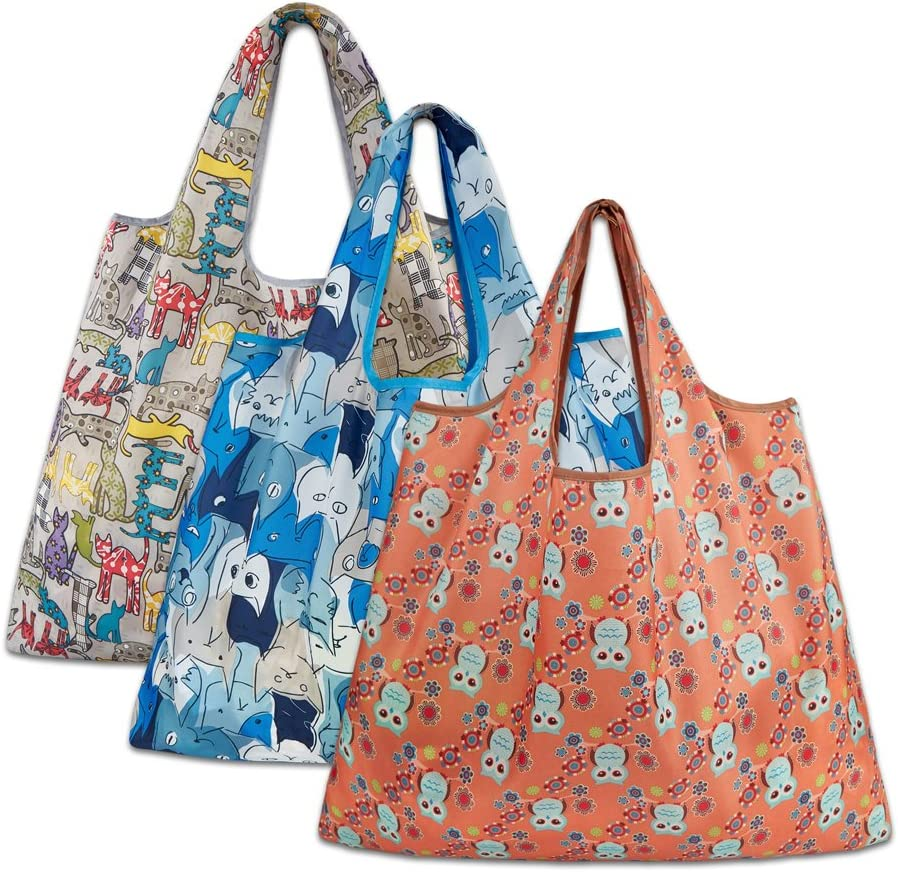 Reusable Grocery Bags, Eco Friendly Foldable Shopping Bags Large Heavy Duty Washable Tote Bags (3 Pack, Grey Cat, Blue Cat, Orange Owl)