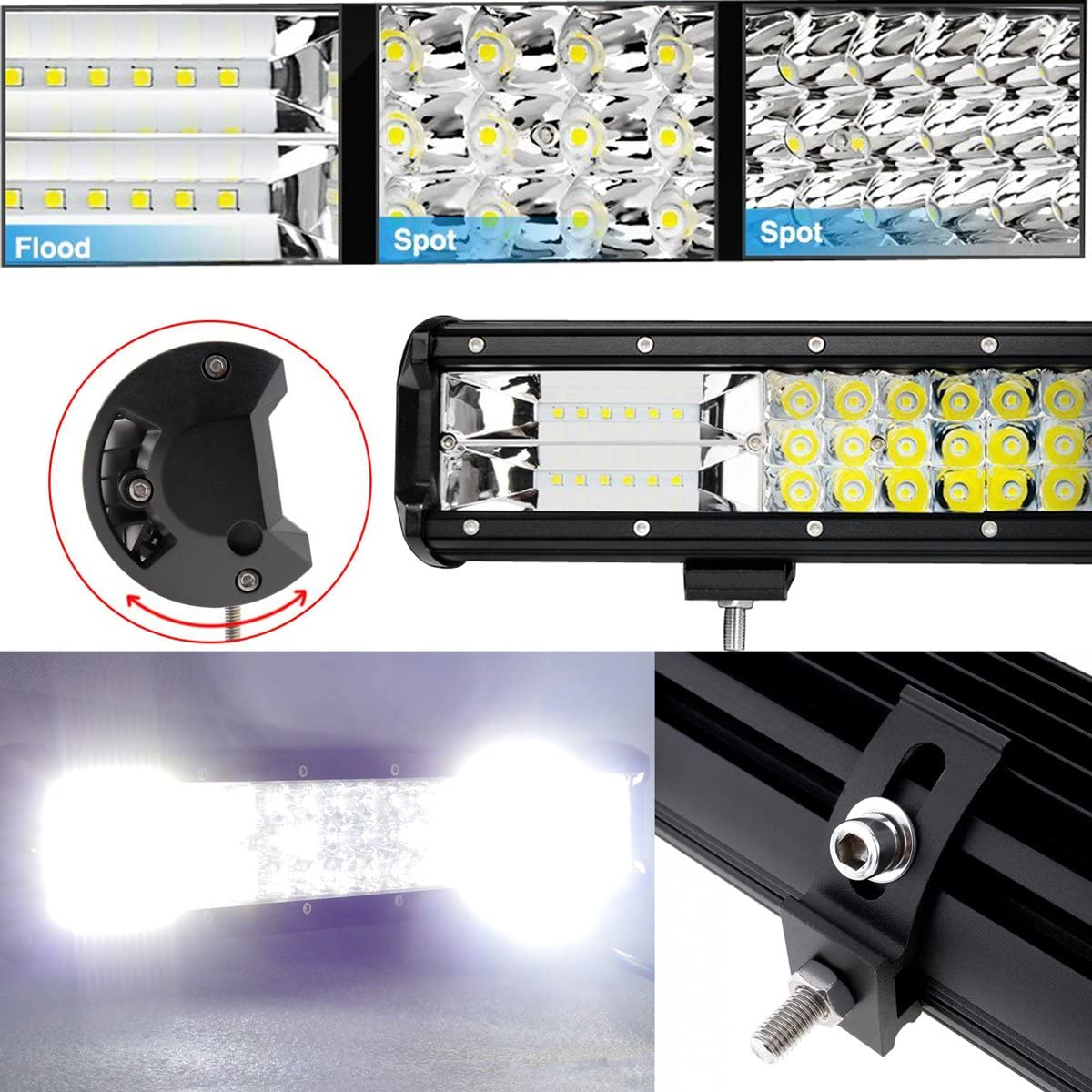AUXTINGS 18 inch 252W LED Light Bar Triple Row Spot Flood Combo Beam Off Road Lights Waterproof Work Light with Wiring Harness for Trucks SUV ATV UTV Boat Lights