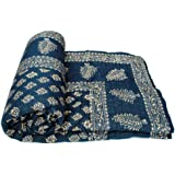 Avighna Print Hand Made Gold & Silver Printed Jaipuri Razai Dark Blue Cotton Single Bed Quilt