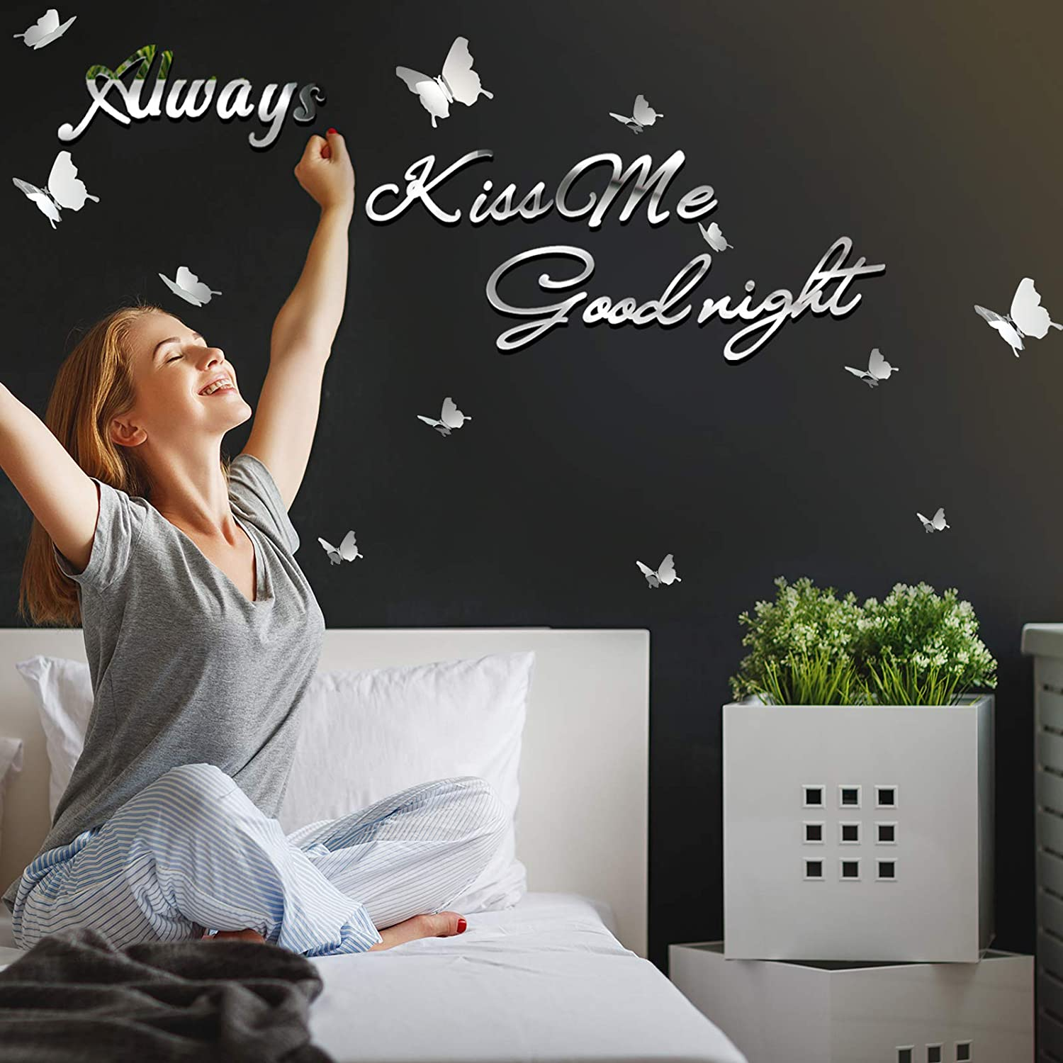 DIY Mirror Silver Always Kiss Me Goodnight Wall Stickers with 12 Pieces 3D Butterfly Removable Mural Stickers for Bedroom and Dining Room Wall Decal