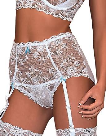 Suspender Belt White LARGE//XLGE by Silky Underwear