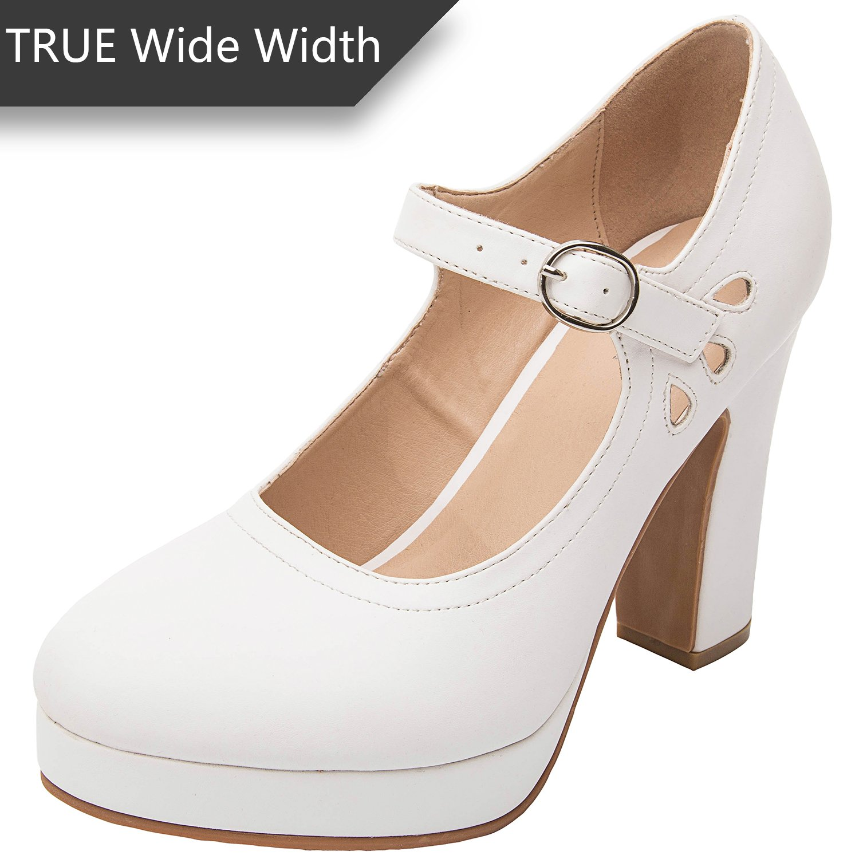 Luoika Women's Wide Width Heel Pump - Ankle Buckle Strap Heel Close Toe Stilleto Platform Mary-Jean Shoes.(White PU, 180334,Size 9)