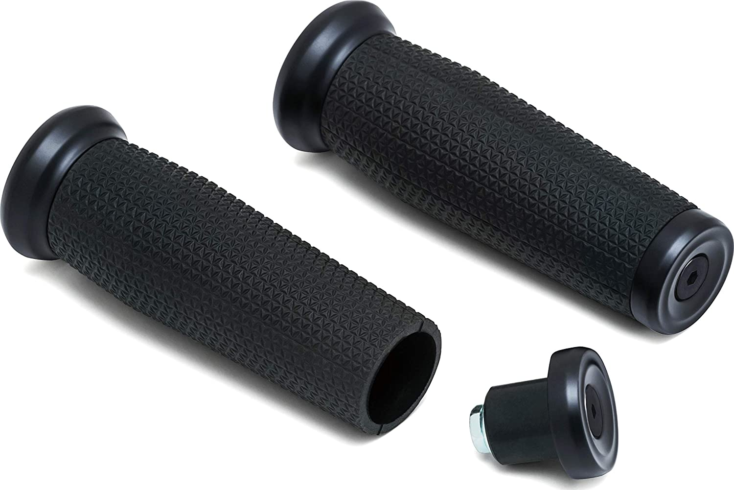 Kuryakyn 5949 Motorcycle Handlebar Accessory: Thresher Grips with End Caps Satin Black 1 Pair Universal Fit for 1 Diameter Handlebars