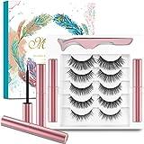 5 Pairs Magnetic Eyelashes and Magnetic Eyeliner Set,Waterproof Magnetic Eyelashes and No Glue,3D Magnetic Lashes Look Natura