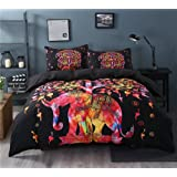 Sleepwish Super Soft Duvet Cover Set with 2 Pillow Shams,Elephant Mandala Pattern,Bohemia Exotic Patterns Design (Queen, Black Cool)