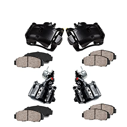 4 2 Callahan CCK02560 Low Dust Ceramic Brake Pads 2 OE Rotors + REAR Original Calipers +