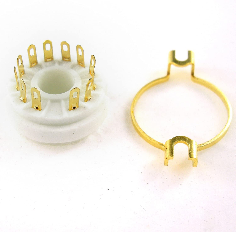Cary 4pc 12pin Gilded Ceramic Vacuum Tube Socket Gold Valve Base 9mn8 8ac9 8cb11 6ge5