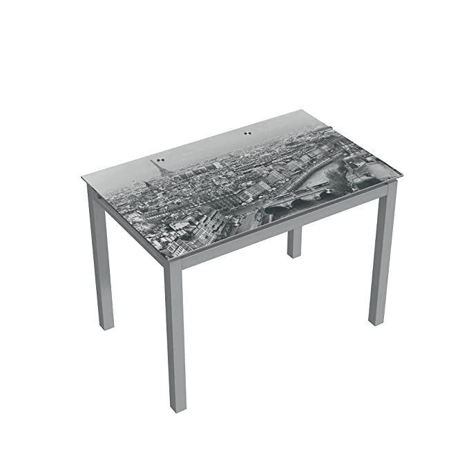 Abitti Mesa para Cocina Extensible de Cristal con serigrafía de Paris 110-170x70cm