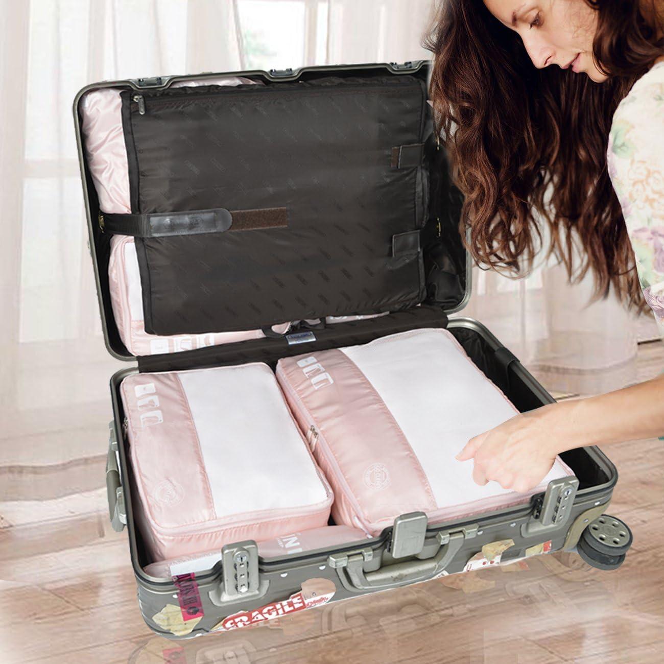 9Pcs Ros/é Eazeehome 9pcs Organisateur de Bagage de Sac Voyage Emballage Cubes Rangement pour V/êtement sous-V/êtement Chaussures Cosm/étique